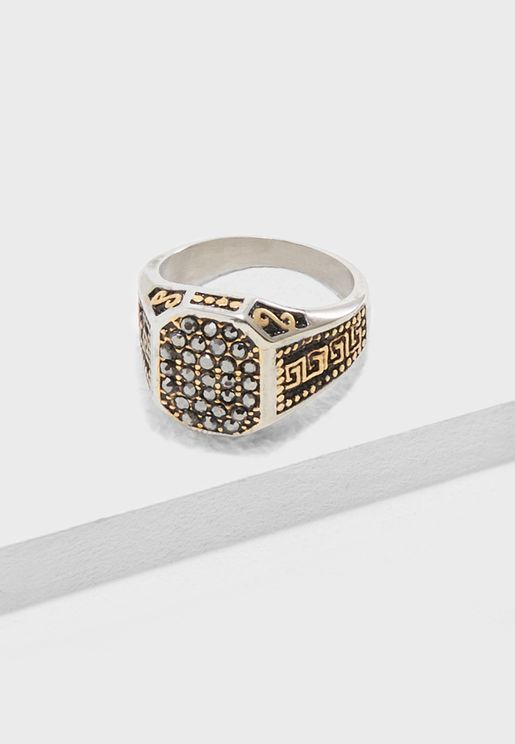 Greek Pattern Embossed Ring