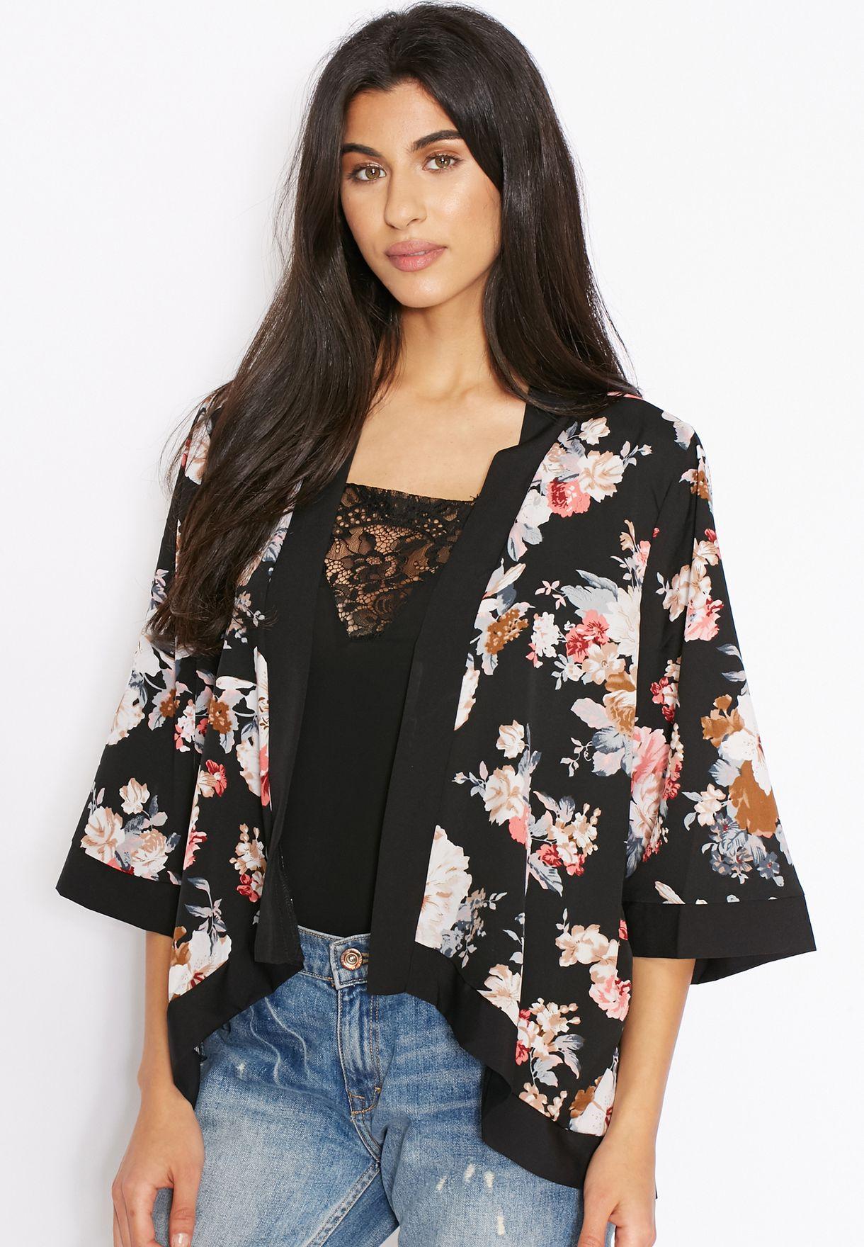 78d9276b71f2d Shop Mela London black Floral Print Kimono for Women in Saudi ...
