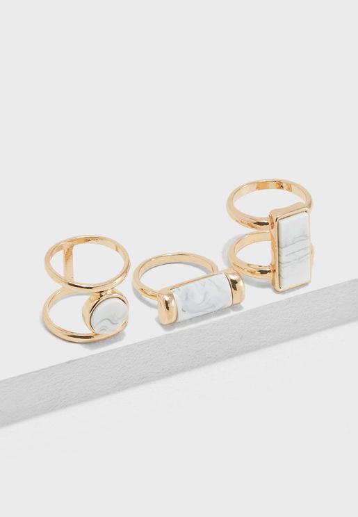 Faux Marble Ring Set