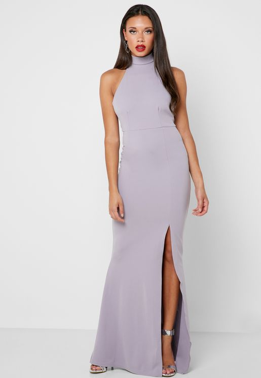 High Neck Front Split Bodycon Dress