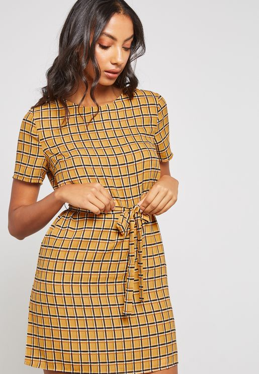 Belted Checked Dress