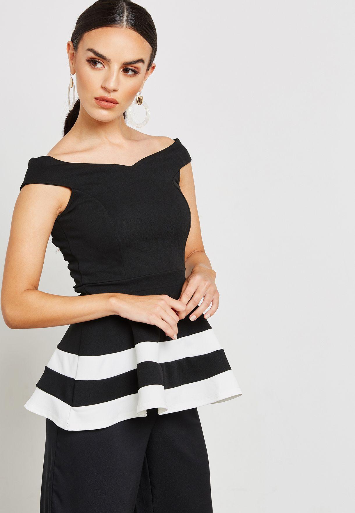 8b0135868e453 Shop Quiz black Bardot Peplum Top with Contrast Hem 00100016655 for ...