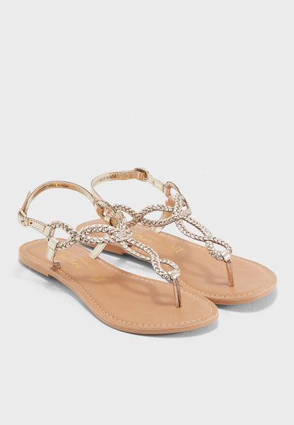 Gold Leather Farah Sandals