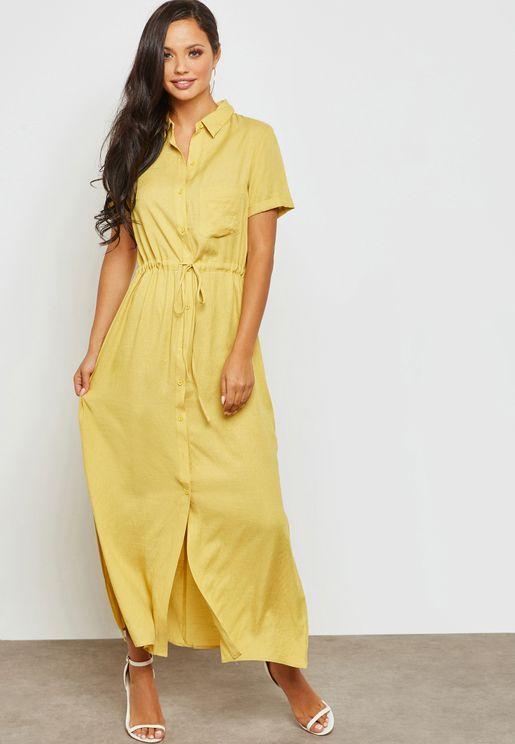 Belted Shirt Maxi Dress