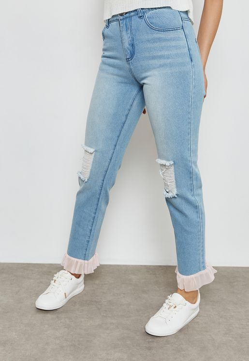 Ripped Frill Hem Jeans