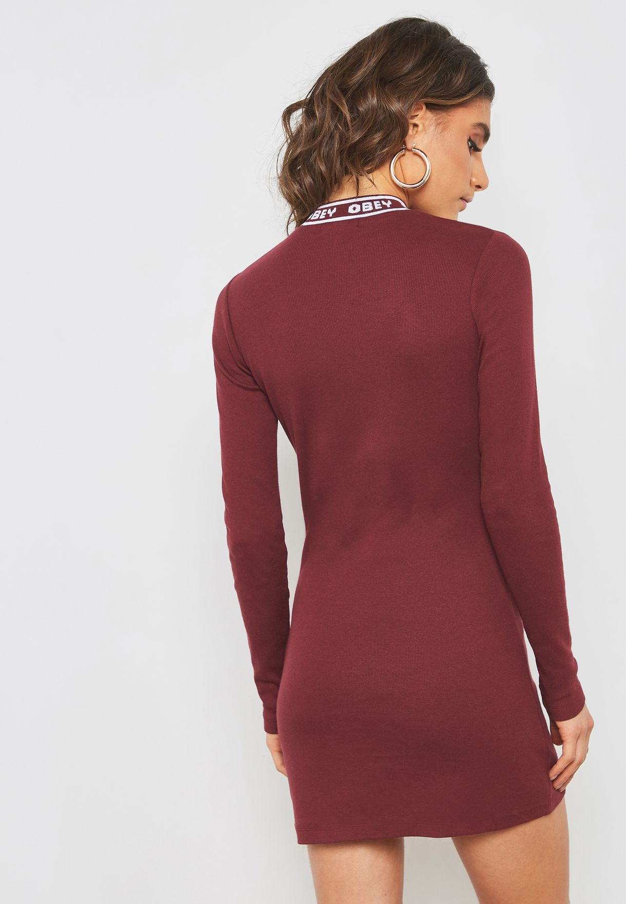 Logo High Neck Bodycon Dress