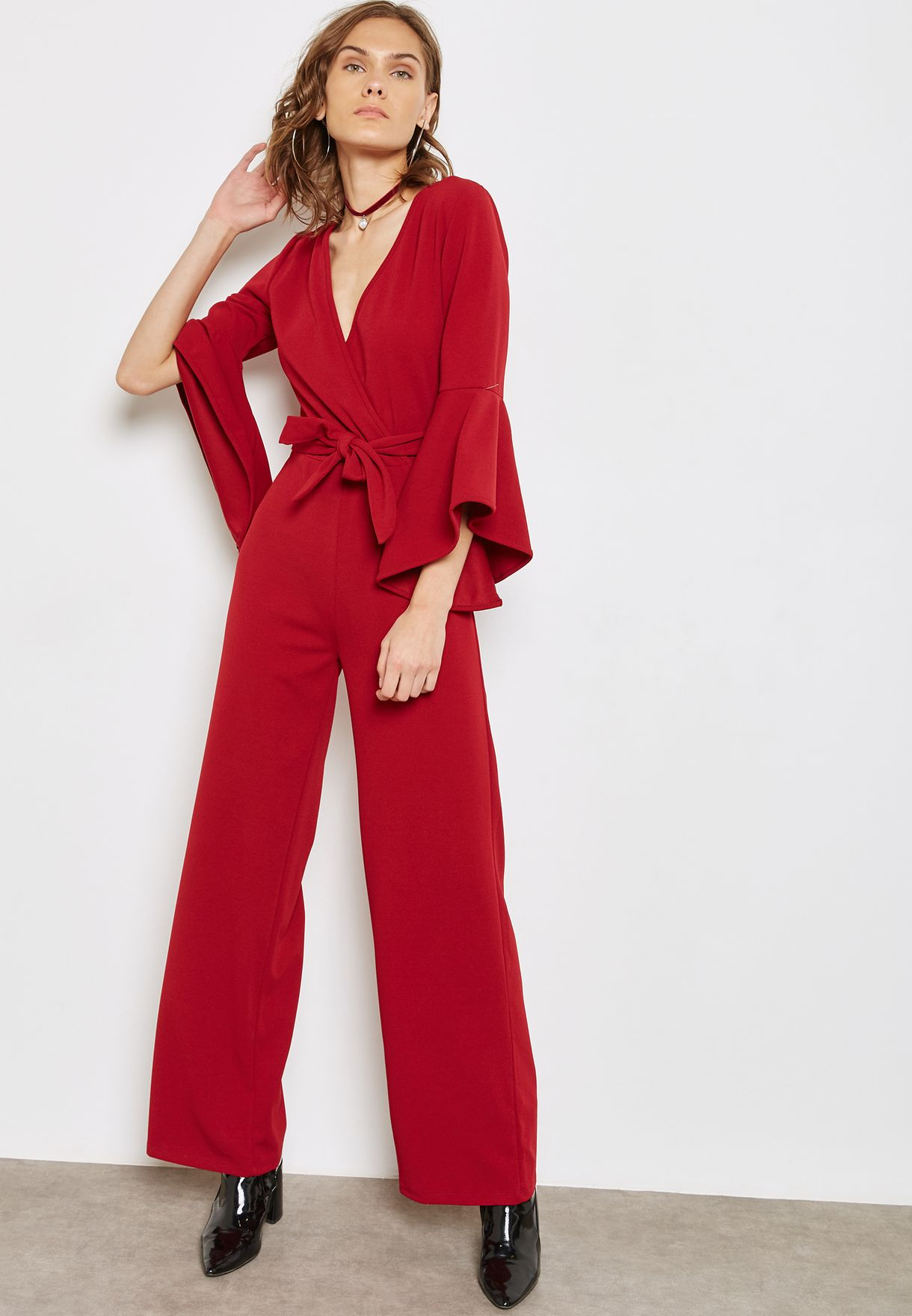 ad7bb1368657f1 Shop Ella red Wrap Front Tie Ruffle Sleeve Jumpsuit RUFFLE SLEEVE ...