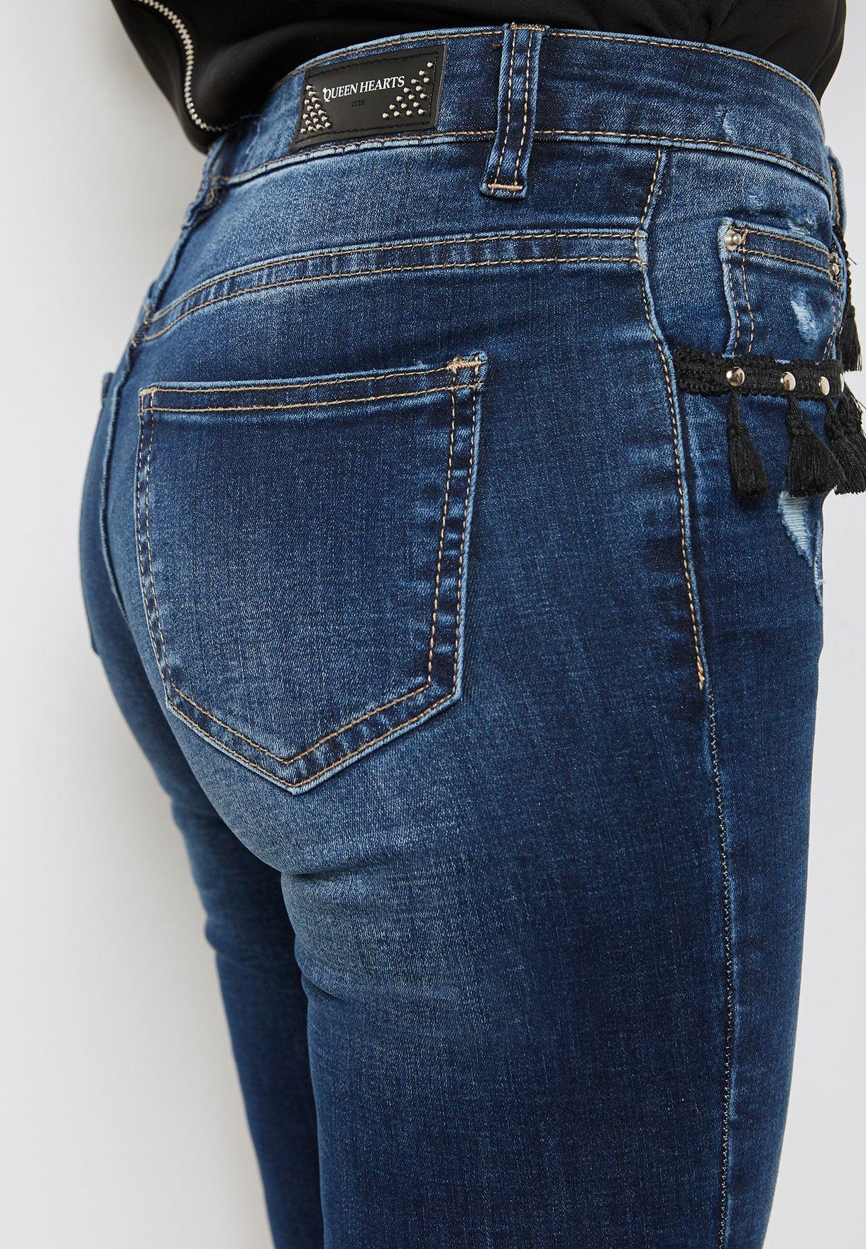 جينز سكيني مزين بشراشيب