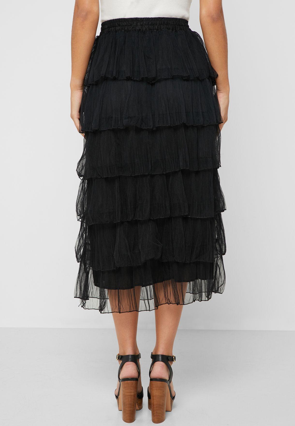 Mesh Tiered Ruffle Midi Skirt