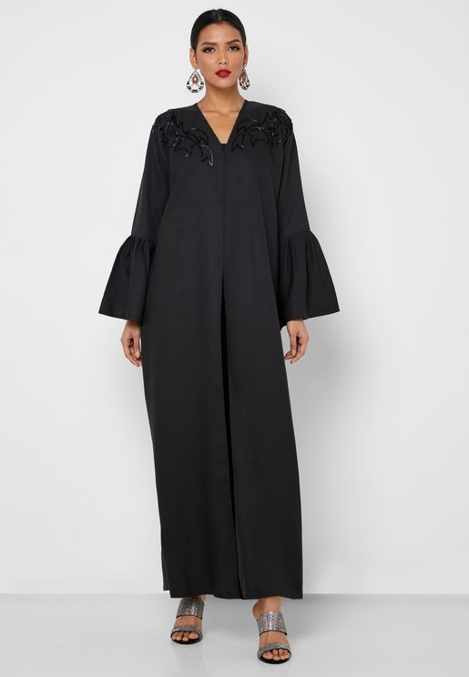 Pleated Sleeve Kaddana Yoke Abaya