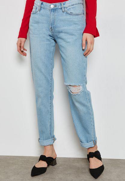 Light Wash Straight Jeans