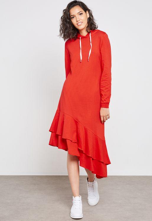 Asymmetric Hooded Dress