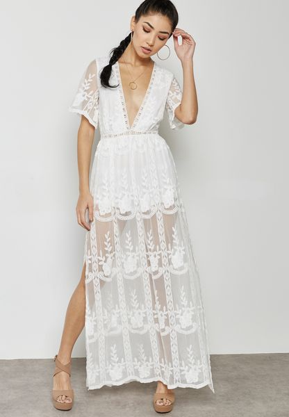 Sheer Lace Maxi Plunge Dress