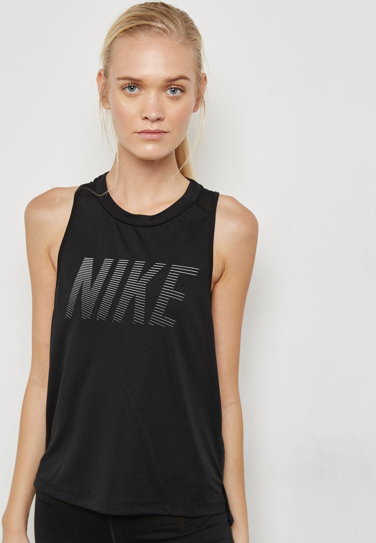 ad3813a788bce8 Shop Nike black Dri-FIT Miler Tank 942065-010 for Women in UAE ...