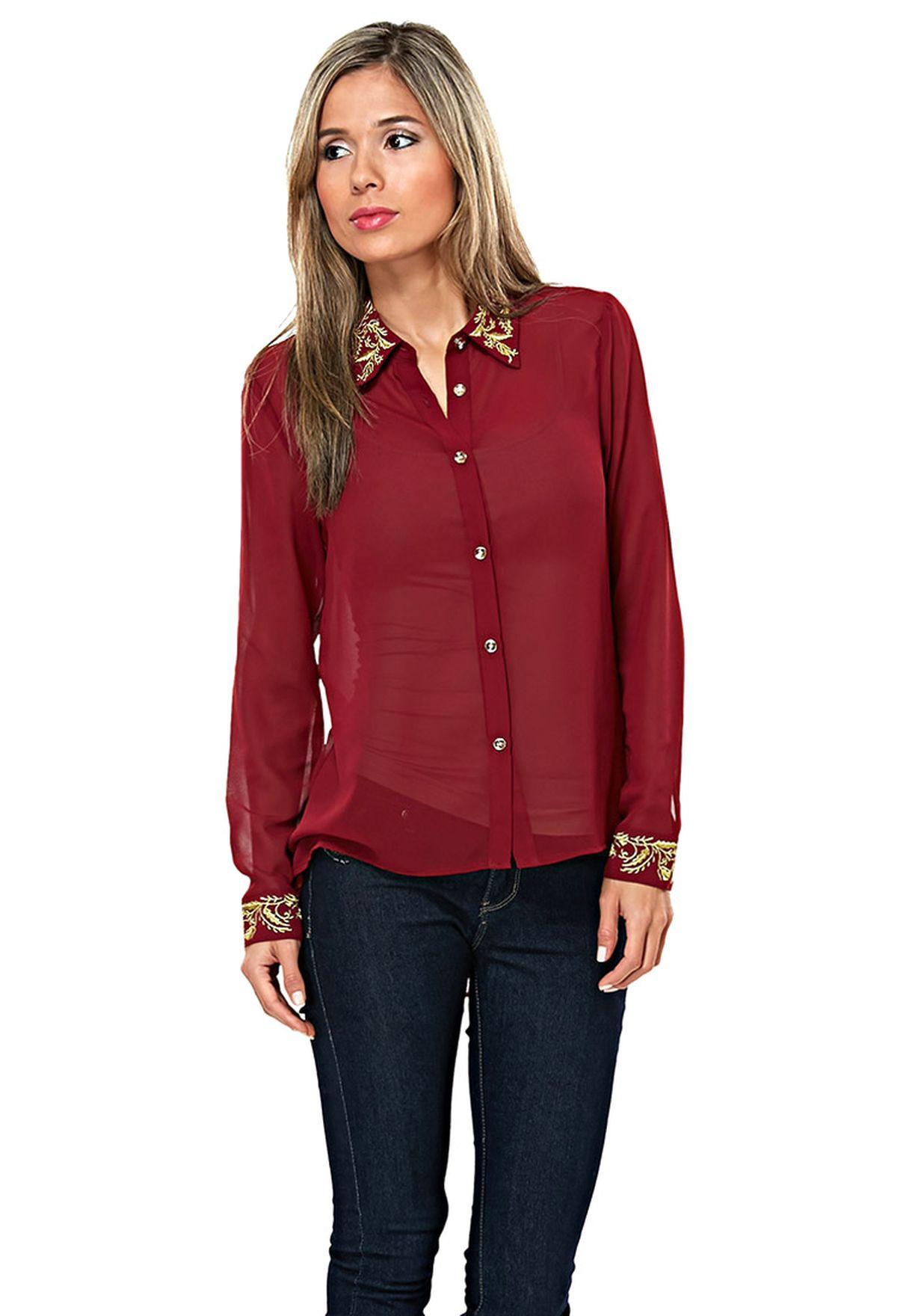 0b91d2d62ef55 تسوق قميص بياقة ذهبية ماركة ايلا لون أحمر في السعودية - EL314AT94HBT
