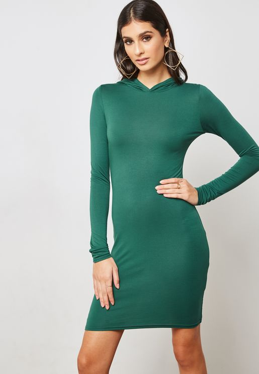 Long Sleeve Crew Neck Hooded Dress