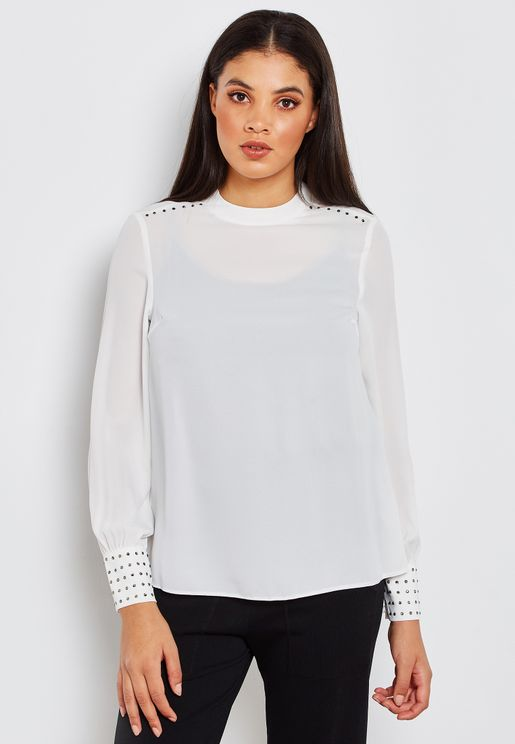Embellished Cuff Long Sleeve Top