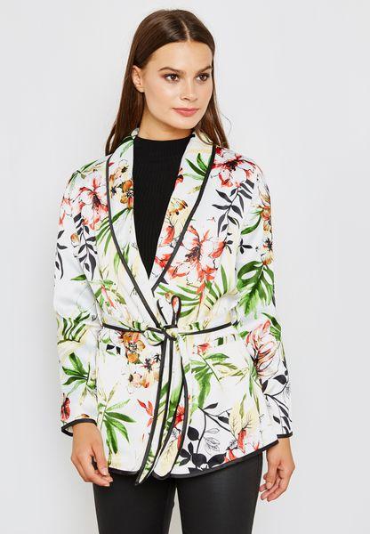 Floral Print Self Tie Blazer