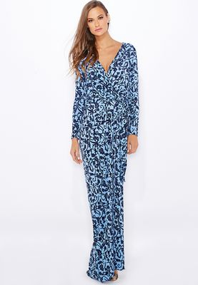 Anaya Printed Wrap Front Maxi Dress