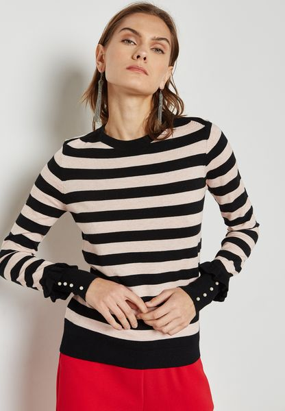 Striped Ruffle Pearl Cuffed Sweater