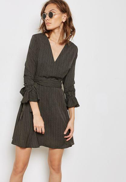 Striped Wrap Front Ruffle Cuffed Dress