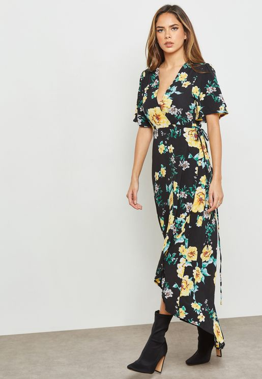 High Low Floral Print Short Sleeve Maxi Dress
