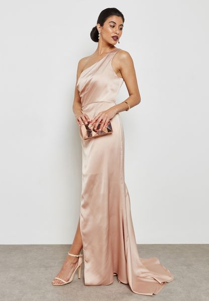 Front Split One Shoulder Maxi Dress