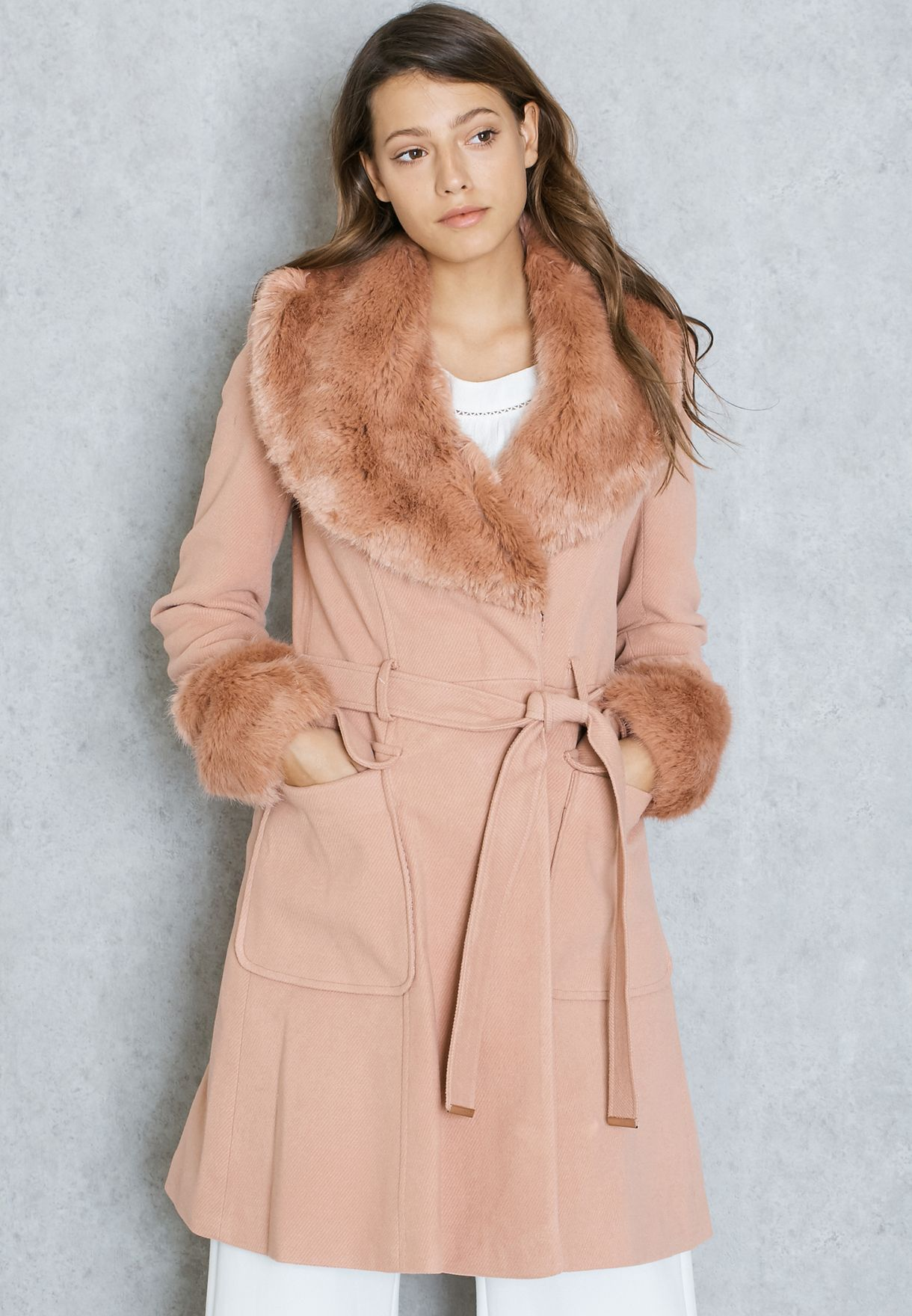 c25670d9352a Shop Miss Selfridge pink Faux Fur Cuff And Collar Coat 23F04TPNK for ...