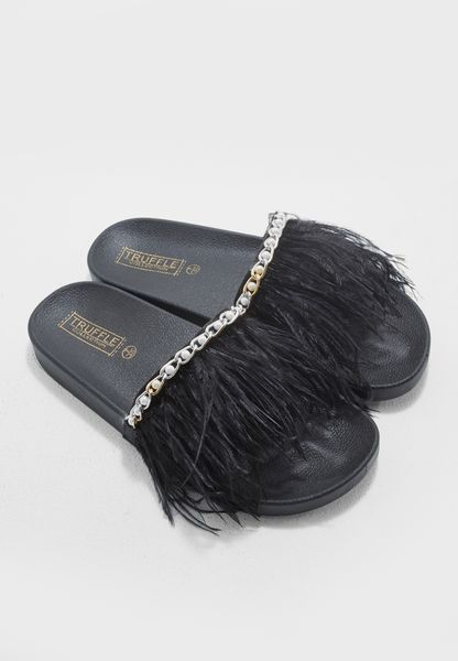 Faux Feather Sandal