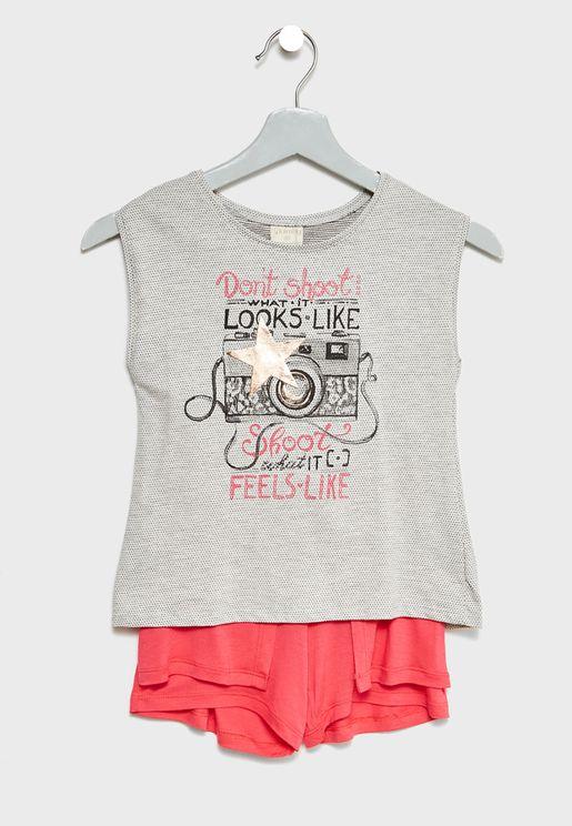 Little Slogan Top + Shorts Set