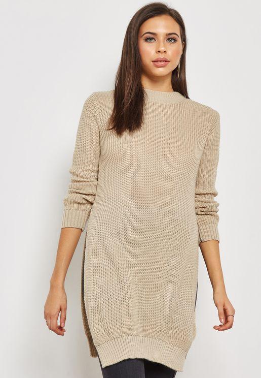 Side Slit Longline Sweater