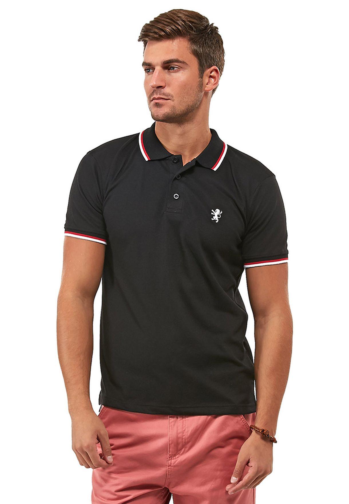 fe1915cdb تسوق قميص بولو بثلاثة أزرار ماركة برايف سول لون أسود في قطر ...
