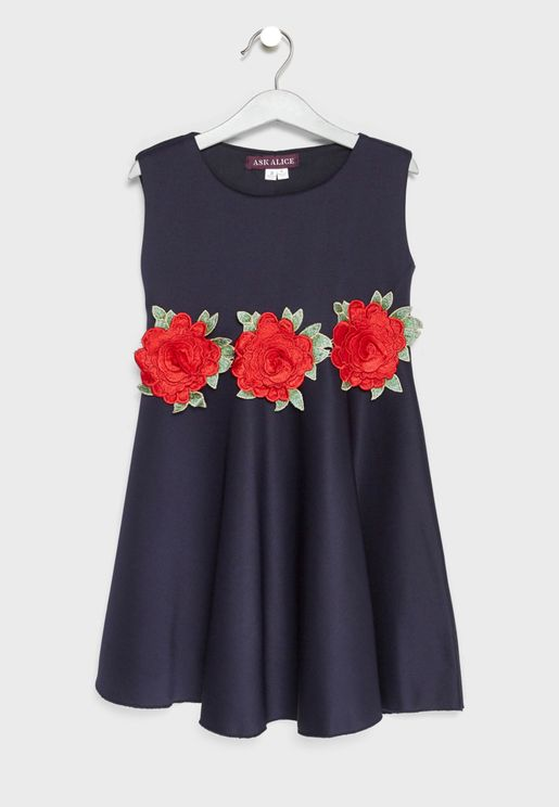 Little Rose Waist Fit & Flare Dress