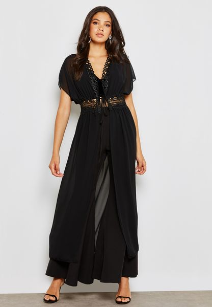 Longline Lace Trim Kimono