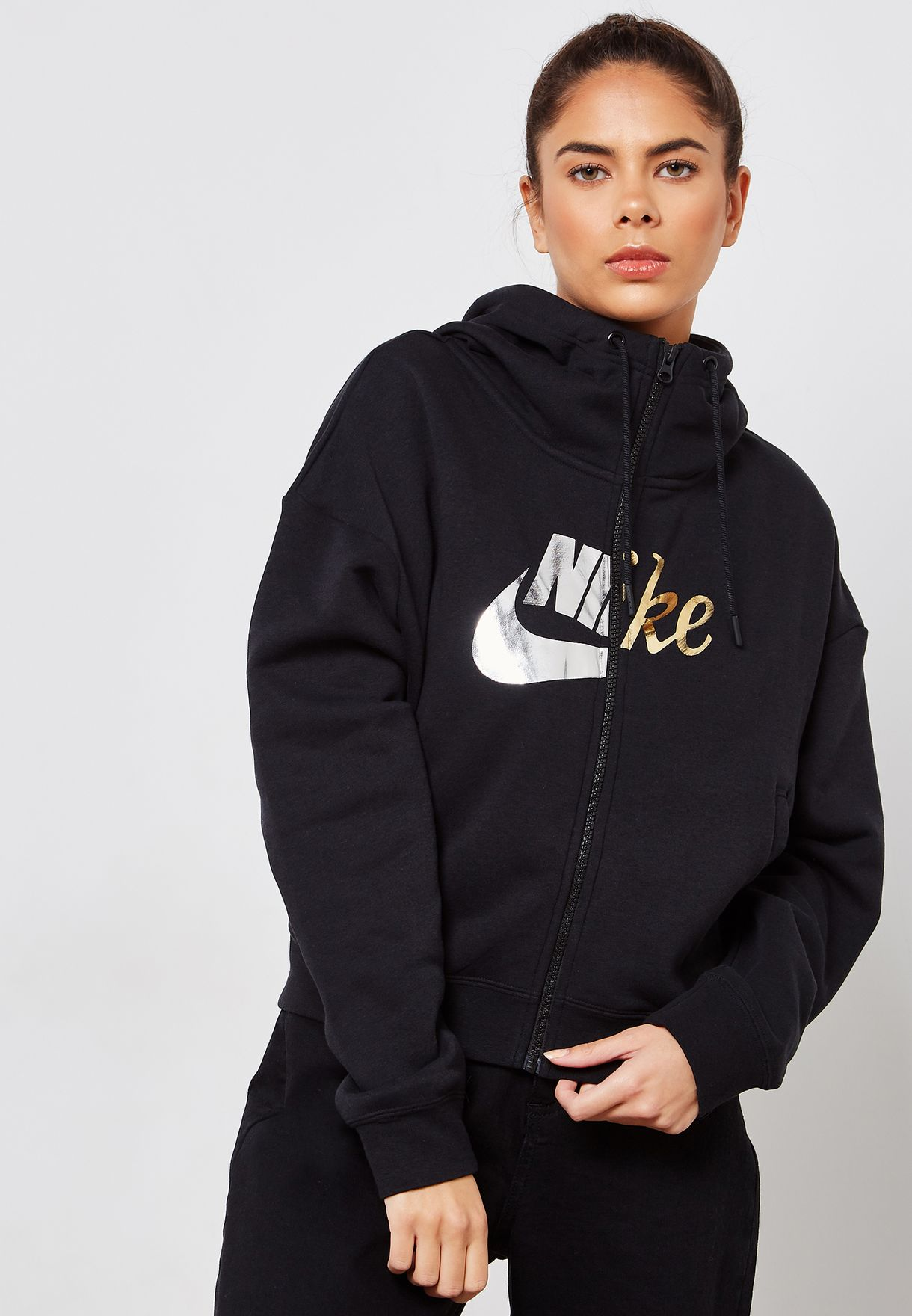 789cdbdc6494 Shop Nike black Rally Metallic Hoodie AJ0090-010 for Women in Saudi ...