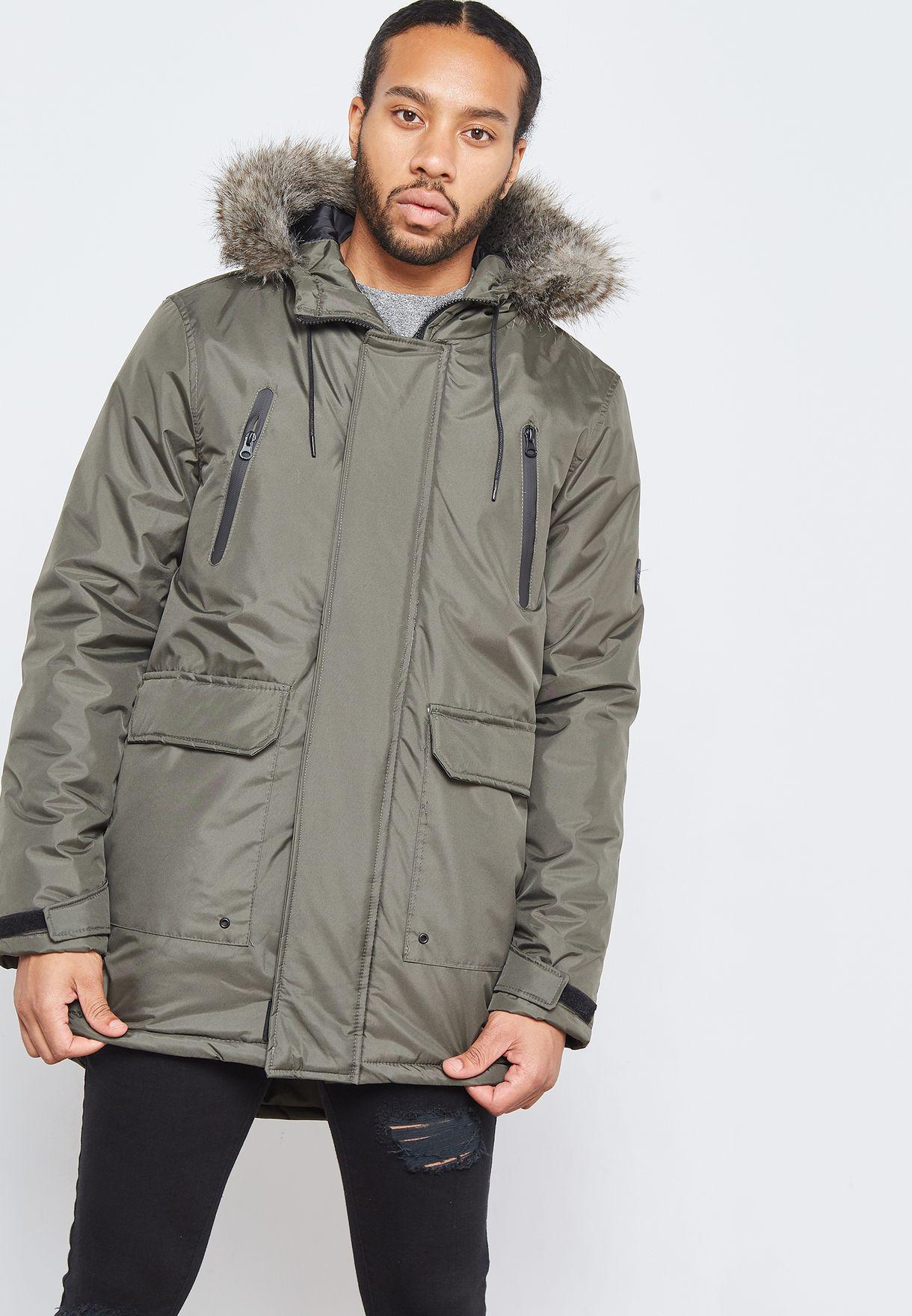 Shop D Struct green Fur Trimmed Parka Jacket D HECTO K for Men in Saudi -  DS219AT94WEF c88a47b6c