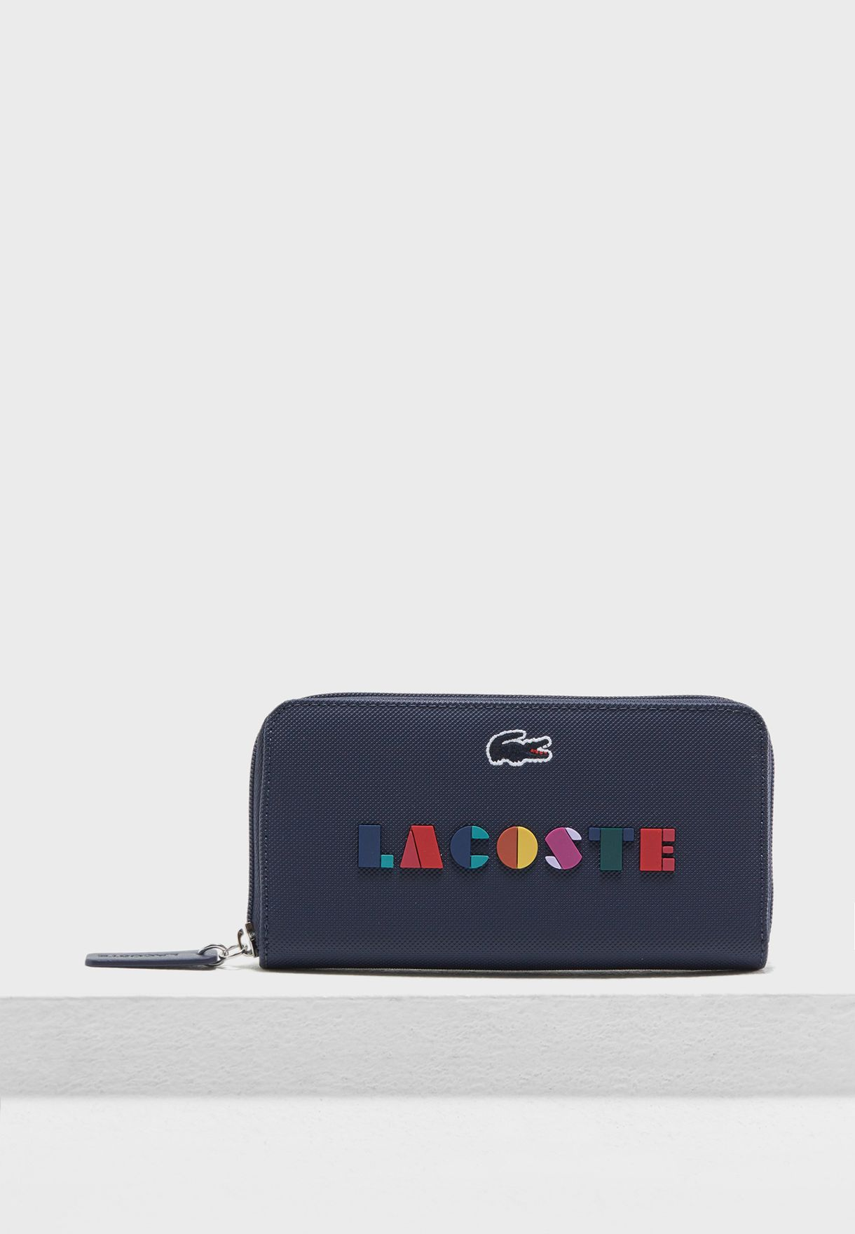 Shop Lacoste navy Large Zip Around Wallet NF2611CF-B61 for Women in ... 746ae26c0