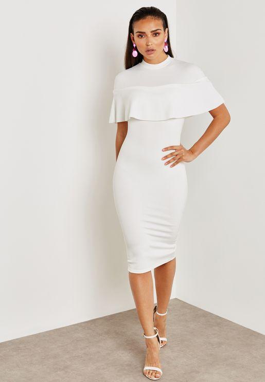 Over Frill Shoulder Midi Dress