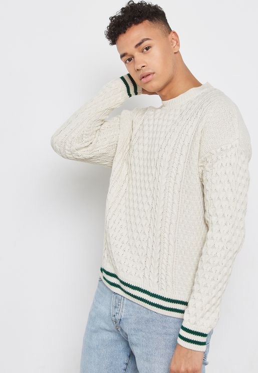 Tipped Cable Knitted Jumper