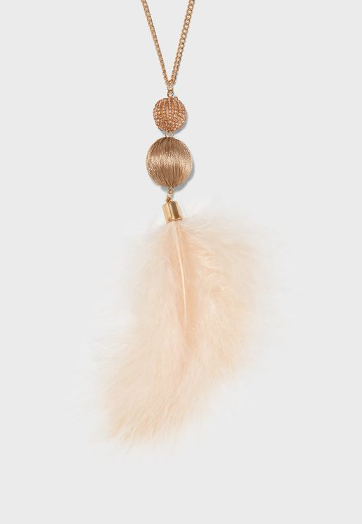 Ball Feather Long Pendant Necklace