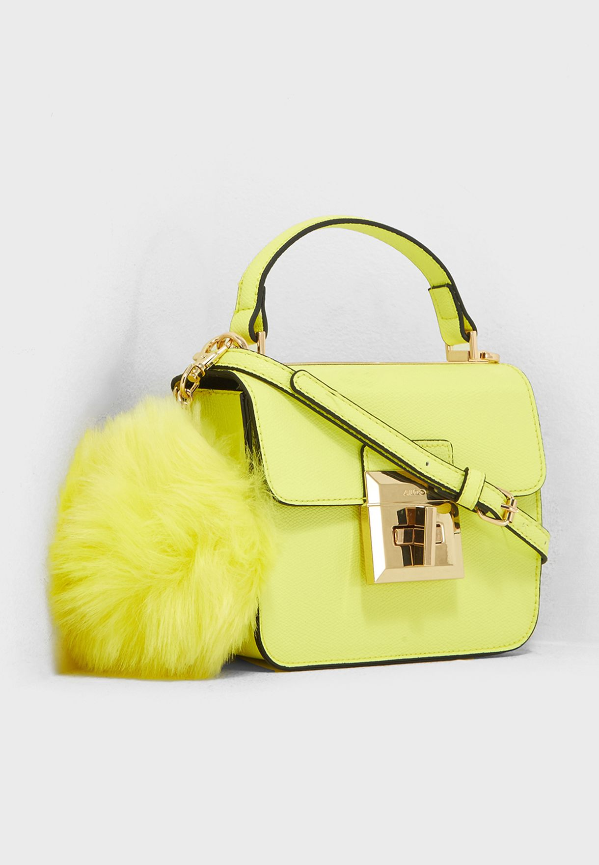 36dc89b1bc4 Shop Aldo yellow Chiadda Mini Pom Pom Satchel CHIADDA67 for Women in ...