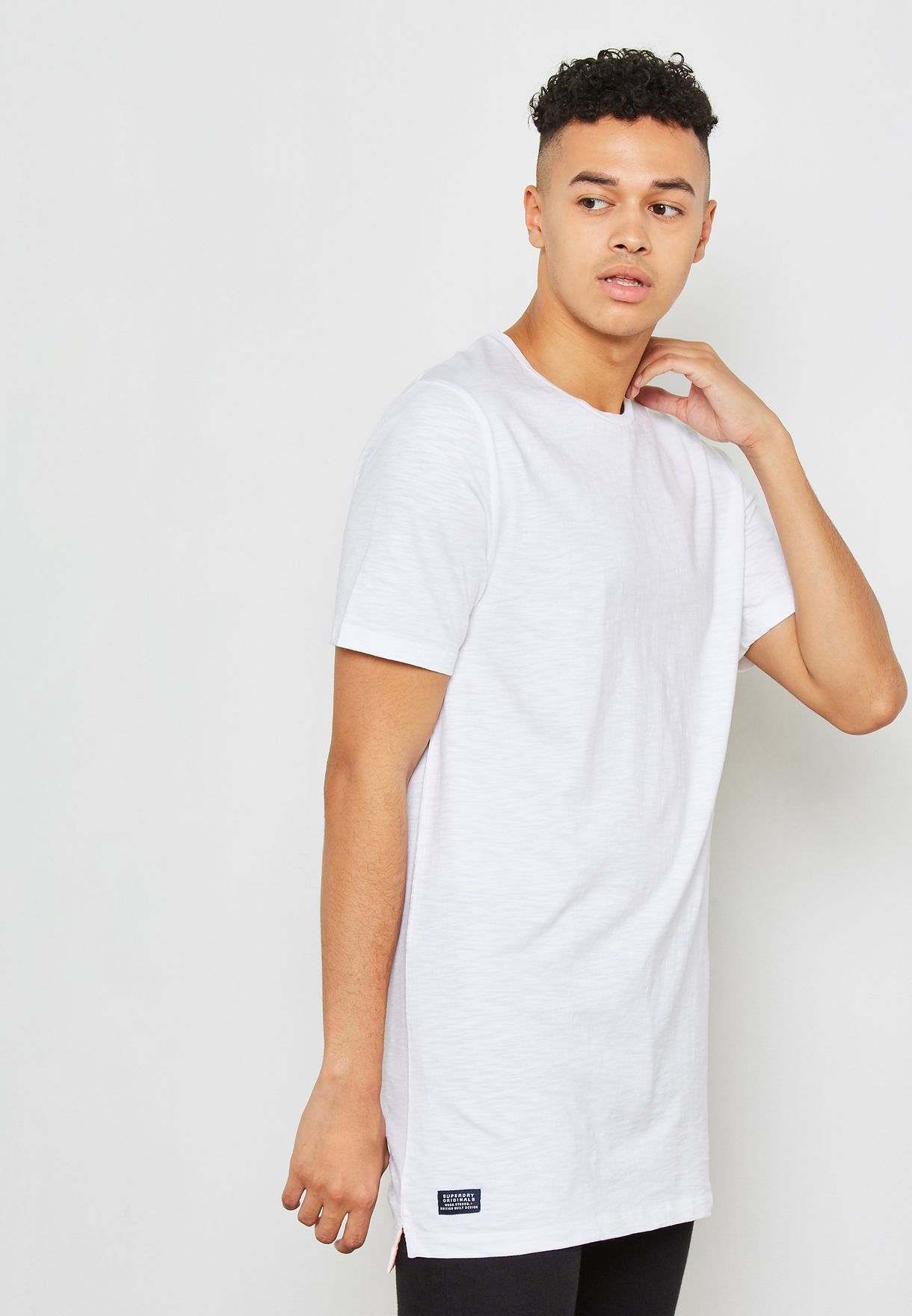 11a17de3 Shop Superdry white Dry Original Longline T-Shirt M10000MR_26C for ...