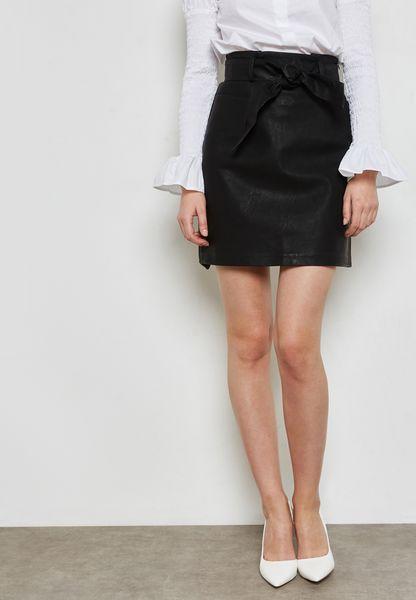 PU Patterned Midi Skirt