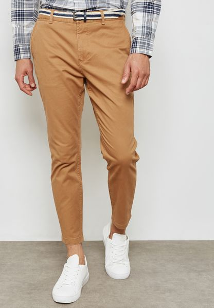 Belted Straight Fit Chinos