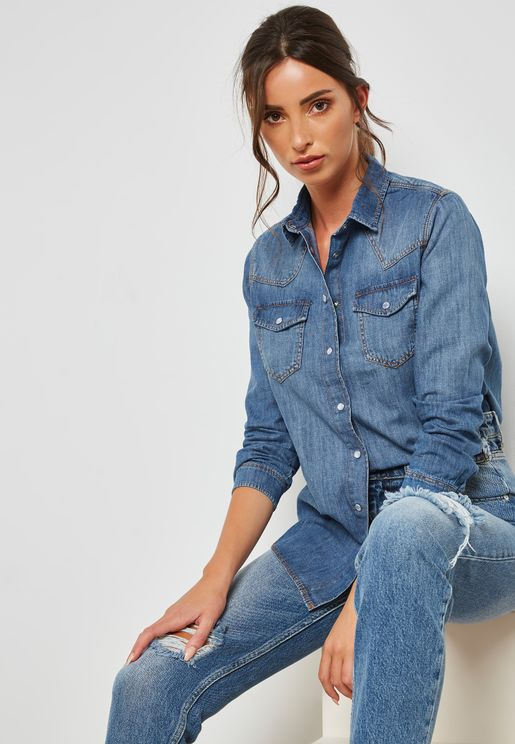Mid Wash Pocket Detail Denim Shirt