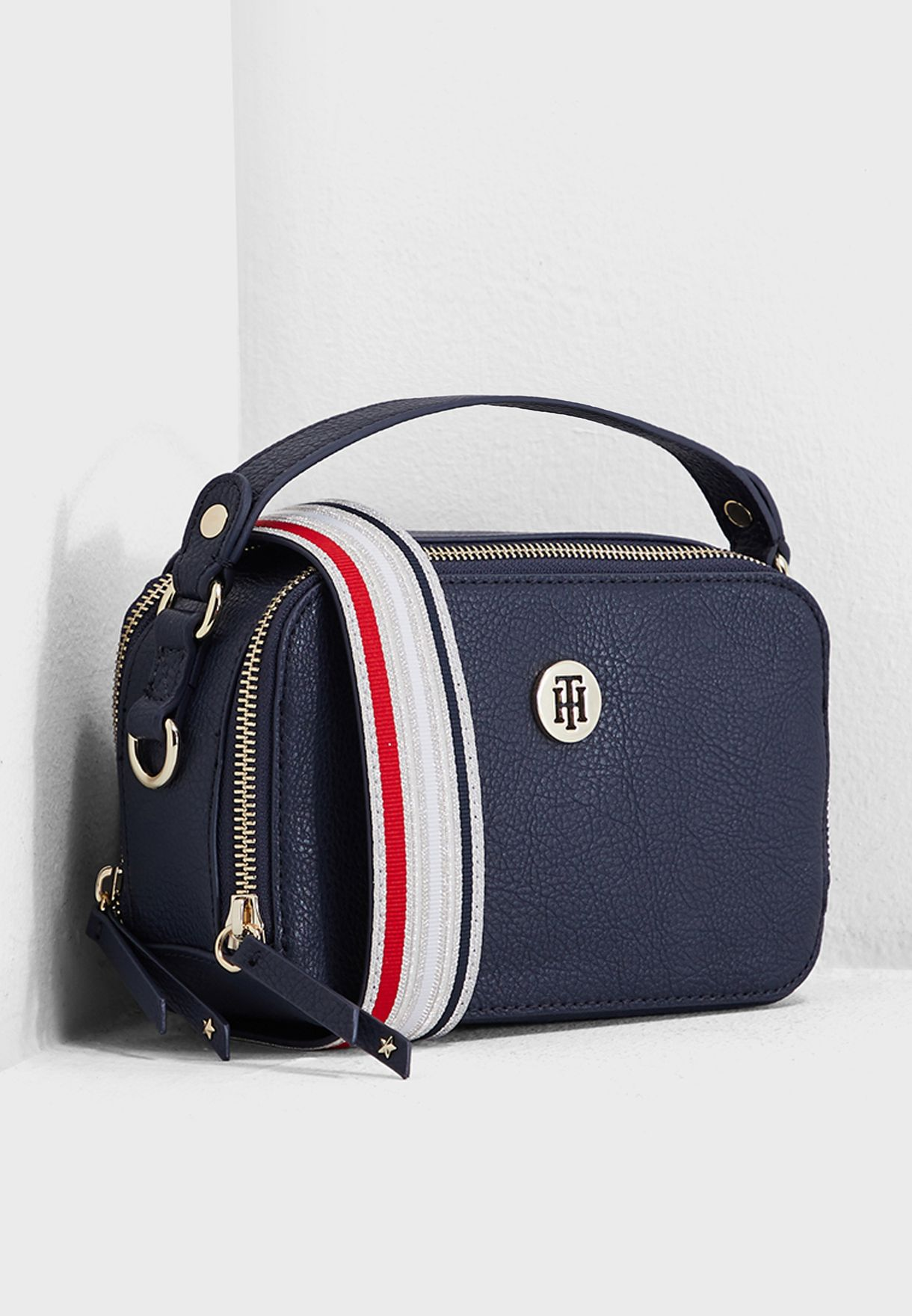 a1c53e158e6 Shop Tommy Hilfiger navy Mini Cool Trunk Crossbody AW0AW06543413 for ...