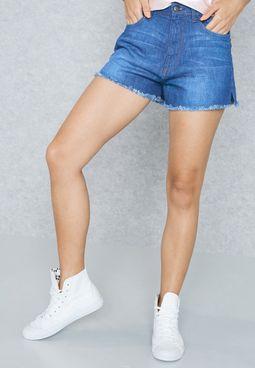 Raw Hem Detail Denim Shorts