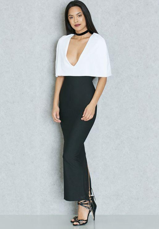 Colourblock Cape Maxi Dress