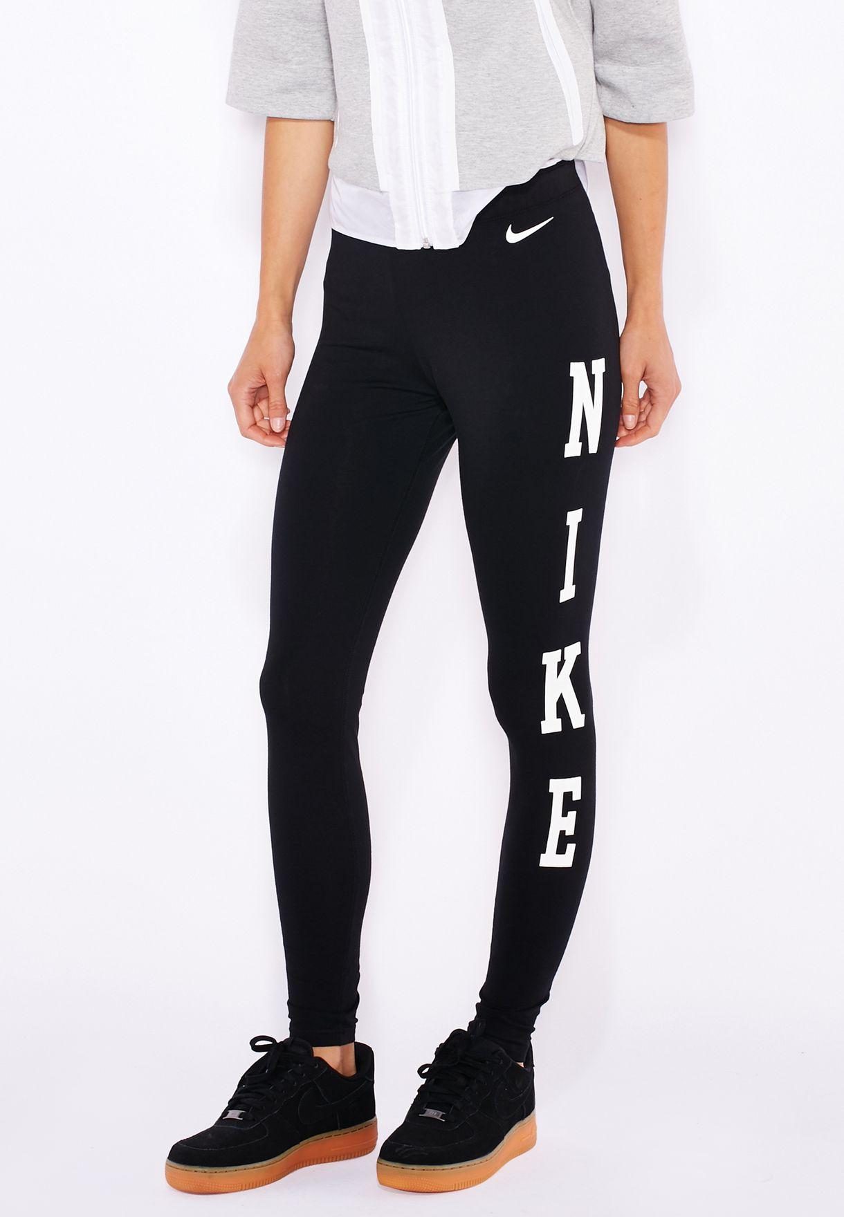 15756d953 Shop Nike black Club Logo Leggings 725201-010 for Women in Qatar ...
