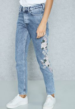 Side Embroidered Detail Skinny Jeans